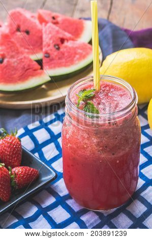 Watermelon juice blends healthy juice helps to lose weight. And refreshing the body water watermelon and strawberry blended together and lemon flavor.