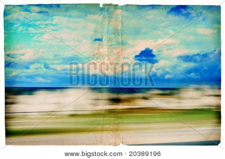 Illustration of sea scene out of a window of the car