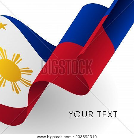 Philippines flag. Patriotic design. Waving flag. Vector illustration.