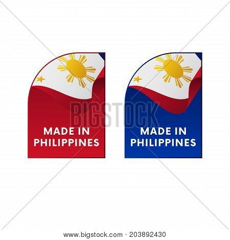 Stickers Made in Philippines. Waving flag. Vector illustration.