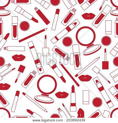 Seamless Pattern Of Different Lip Make-up Tools. Glamour Fashion Vogue Style.