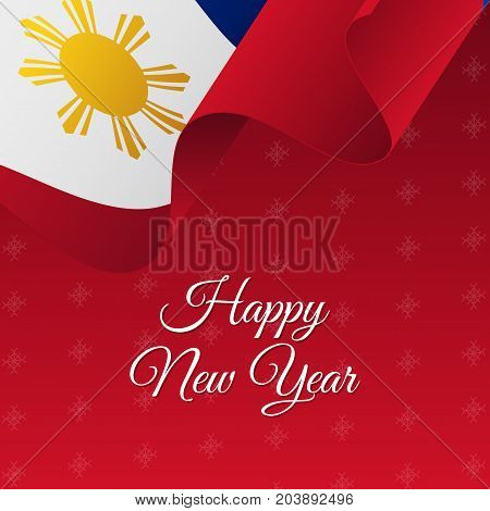 Happy New Year banner. Philippines waving flag. Snowflakes background. Vector illustration.