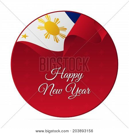 Happy New Year banner or sticker. Philippines waving flag. Snowflakes background. Vector illustration.