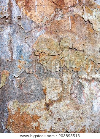 Concrete, Weathered, Worn Wall Damaged Paint. Grungy Concrete Surface. Great Background Or Texture.