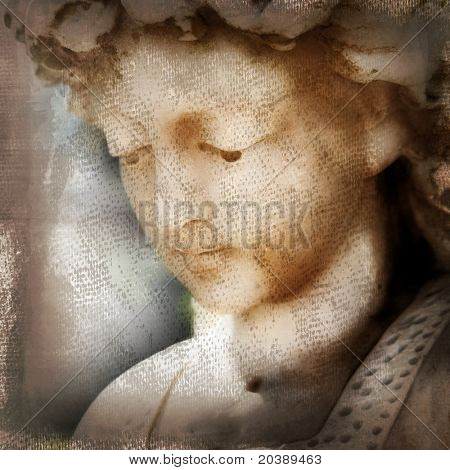 photograph of a face of a stone angel with grunge texture layered on it