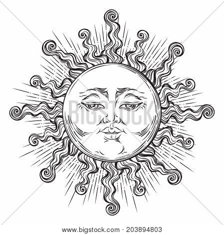 Antique style hand drawn art sun. Boho chic tattoo design vector illustration