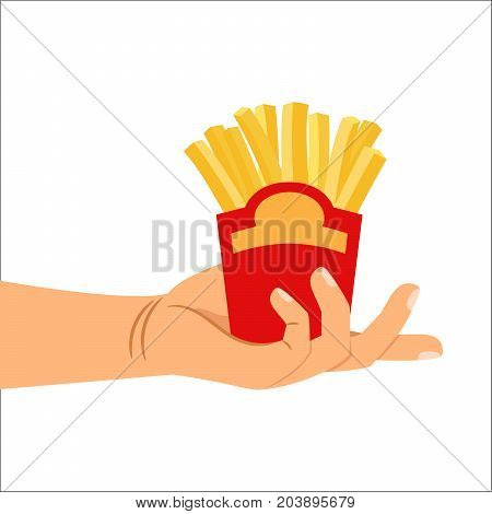 Hand holding french fries unhealthy food. Isolated vector illustration
