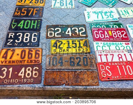 Odessa, Ukraine - Circa 2017: Car Numbers From Around The World On Display. Discontinued The License