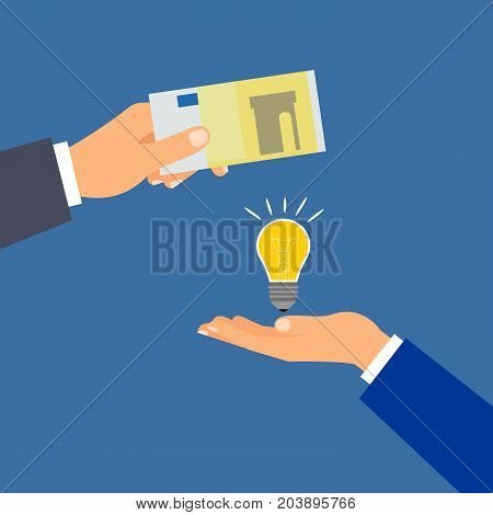 Buy euro money idea, investing in innovation, modern technology business concept, vector illustration