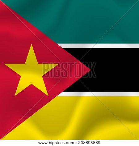 Mozambique waving flag. Waving flag. Vector illustration.