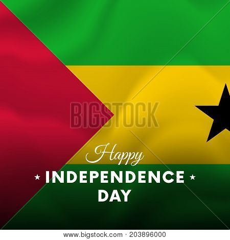 Banner or poster of Sao Tome and Principe independence day celebration. Waving flag. Vector illustration.