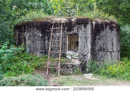 Military pillbox of the times of World War II. Defensive construction Belarus