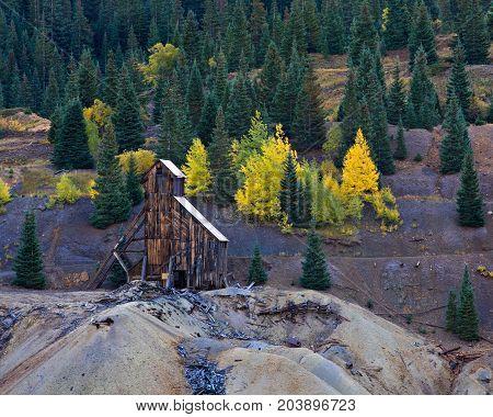Abandoned Mine in Autumn - Colorado Rocky Mountain Scenic Beauty