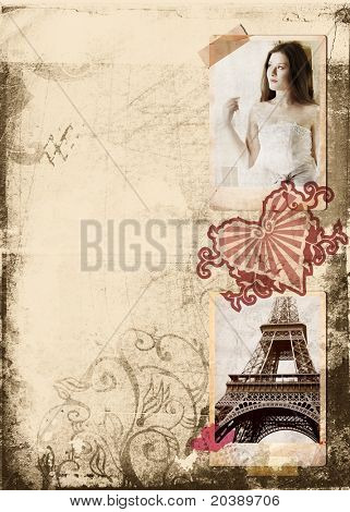 Grunge album page with vintage photos of beautiful bride and Eiffel Tower, heart seal