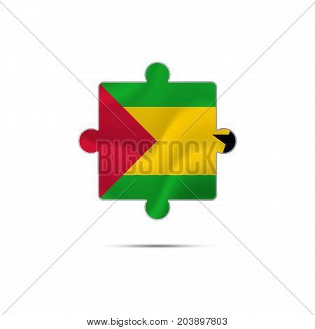 Isolated piece of puzzle with the Sao Tome and Principe flag. Vector illustration.