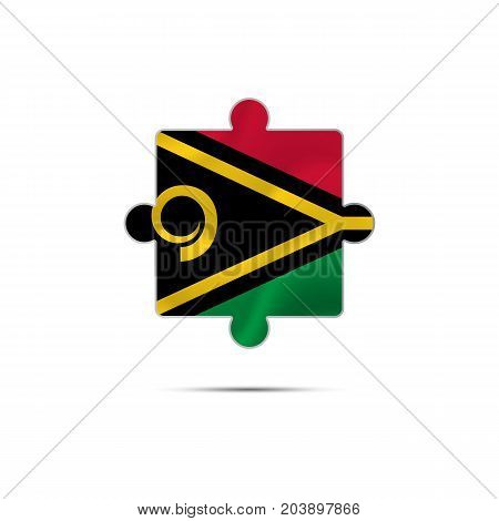 Isolated piece of puzzle with the Vanuatu flag. Vector illustration.