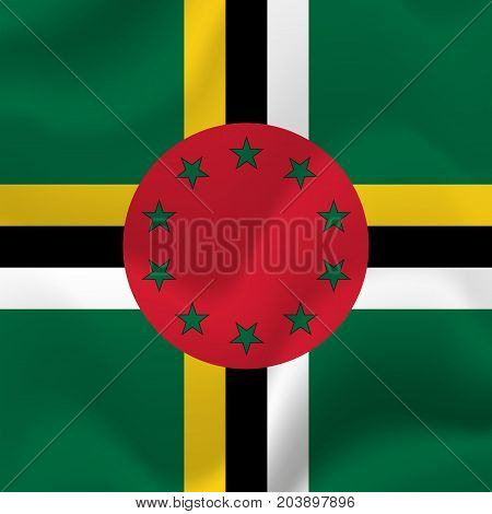 Dominica waving flag. Waving flag. Vector illustration.