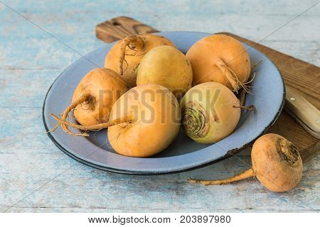 Vegetables. Fresh raw turnip in a blue round bowl next to a cutting board and a knife on an old wooden table.