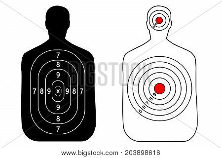 Human gun target on white background. Silhouette of a man. Target shooting vector set.