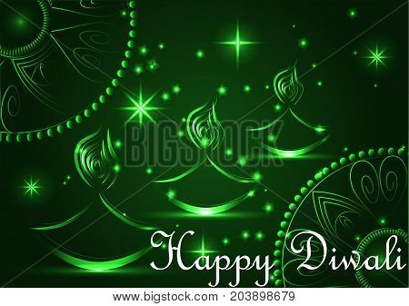 Happy Diwali. Light Background. Three Lampadas, An Oil Lamp With A Burning Fire On An Emerald Brown