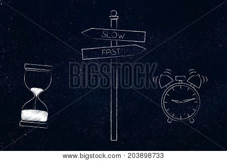 Road Sign With Slow (hourglass) Or Fast (alarm) As Alternative Options