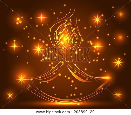 Happy Diwali. Light Background. Lamp, Oil Lamp With A Burning Fire On A Warm Brown Background