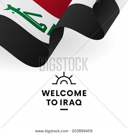 Welcome to Iraq. Iraq flag. Patriotic design. Vector illustration.