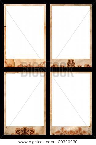 Grunge photo borders jumbo size - 10x15cm with swirls, heart and shape designs, clipping path incl