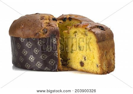 Panettone sweet typical Italian Christmas on white background