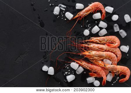 Shrimps with white stones on black background, copy space. Top view on appetizing seafood snack, restaurant serving backdrop.