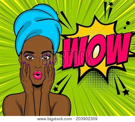 Beautiful sexy black african girl hair wow oops face open mouth in style pop art towel head. Comic book retro halftone background. Vector advertise illustration. Comic text speech bubble.