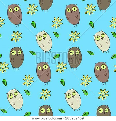 Cute kids seamless pattern with funny cartoon hand drawn owls. Nice childrens texture with confused and thoughtful owls for textile wrapping paper background surface cover web design
