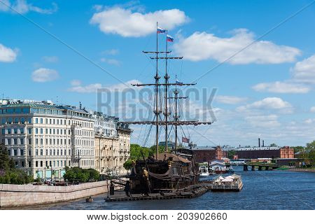 St. Petersburg, Russia - June 03. 2017 A restaurant in a sailboat Flying Dutchman about Mytninskaya Embankment