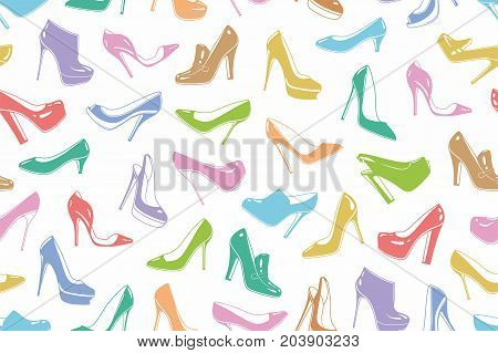 Woman's shoes seamless pattern. Abstract elegant high-heeled ladies shoes