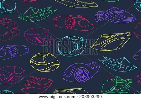 Seamless pattern with spacecrafts. Space background. Vector illustration.