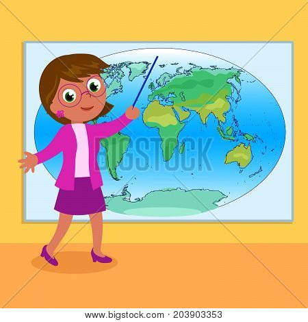Woman geography teacher with world map cartoon illustration