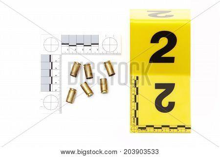 Police evidence of handgun ammunition - empty used cartridges