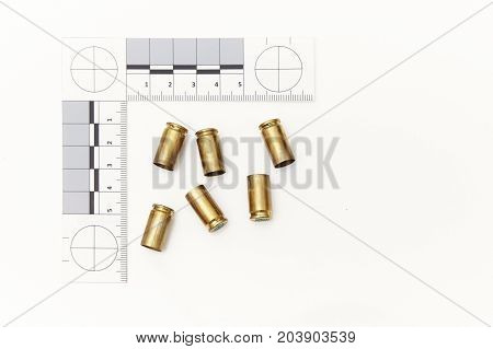Police evidence of handgun ammunition - empty used cartridges