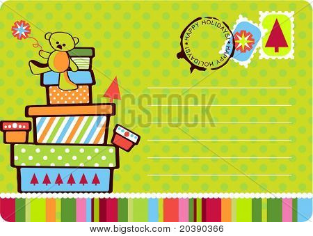 Christmas fun postcard with gift boxes stacked with teddy on top. Seals, stamps and copy space in vector format