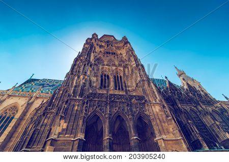 St. Stephen's Basilica roman catholic church building of Vienna in Austria gothic style architecture wide shot