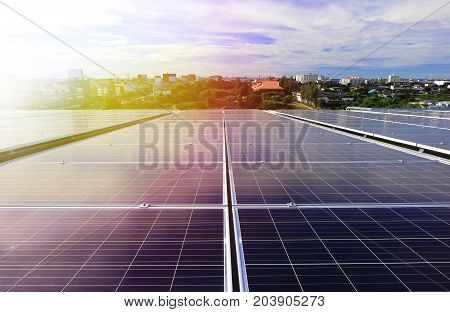 Solar PV Rooftop System with Beautiful Sunlight poster