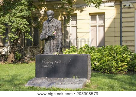 SOFIA, BULGARIA - AUGUST 09, 2017:Monument to the Bulgarian writer playwright screenwriter Yordan Radichkov.