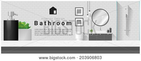Interior design with table top and Modern bathroom background , vector , illustration