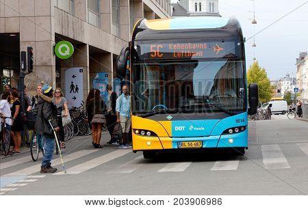 Copenhagen Denmark - August 24 2017: A public transport bus in service for Movia on line 5C with destination Kastrup airport.