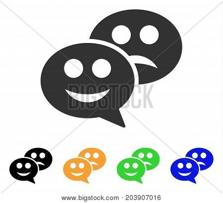 Emotion Chat Messages icon. Vector illustration style is a flat iconic emotion chat messages symbol with black, grey, green, blue, yellow color variants. Designed for web and software interfaces.