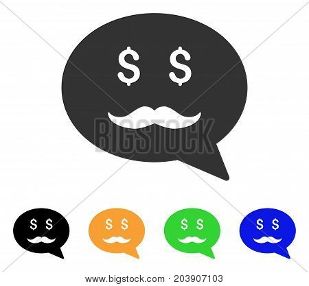 Investor Smiley Message icon. Vector illustration style is a flat iconic investor smiley message symbol with black, grey, green, blue, yellow color variants. Designed for web and software interfaces.