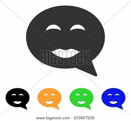 Lady Pleasure Smiley Message icon. Vector illustration style is a flat iconic lady pleasure smiley message symbol with black, grey, green, blue, yellow color versions.