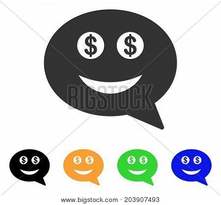 Millionaire Smiley Message icon. Vector illustration style is a flat iconic millionaire smiley message symbol with black, grey, green, blue, yellow color versions.