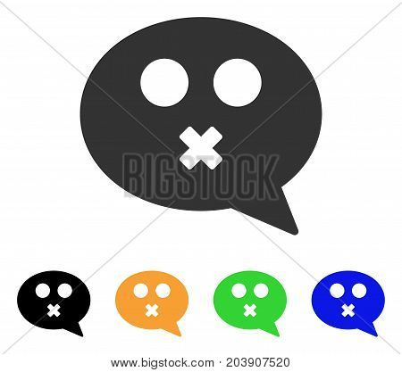 Mute Smiley Message icon. Vector illustration style is a flat iconic mute smiley message symbol with black, gray, green, blue, yellow color versions. Designed for web and software interfaces.