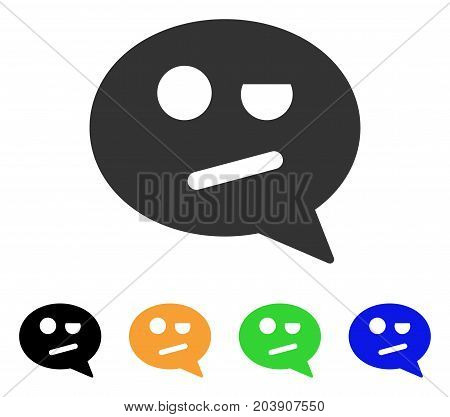 Negation Smiley Message icon. Vector illustration style is a flat iconic negation smiley message symbol with black, grey, green, blue, yellow color variants. Designed for web and software interfaces.